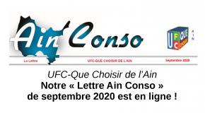 La «Lettre Ain Conso Septembre 2020» est en ligne !
