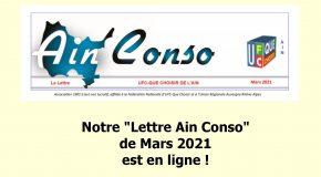 Notre «Lettre Ain Conso» de Mars 2021 est en ligne !